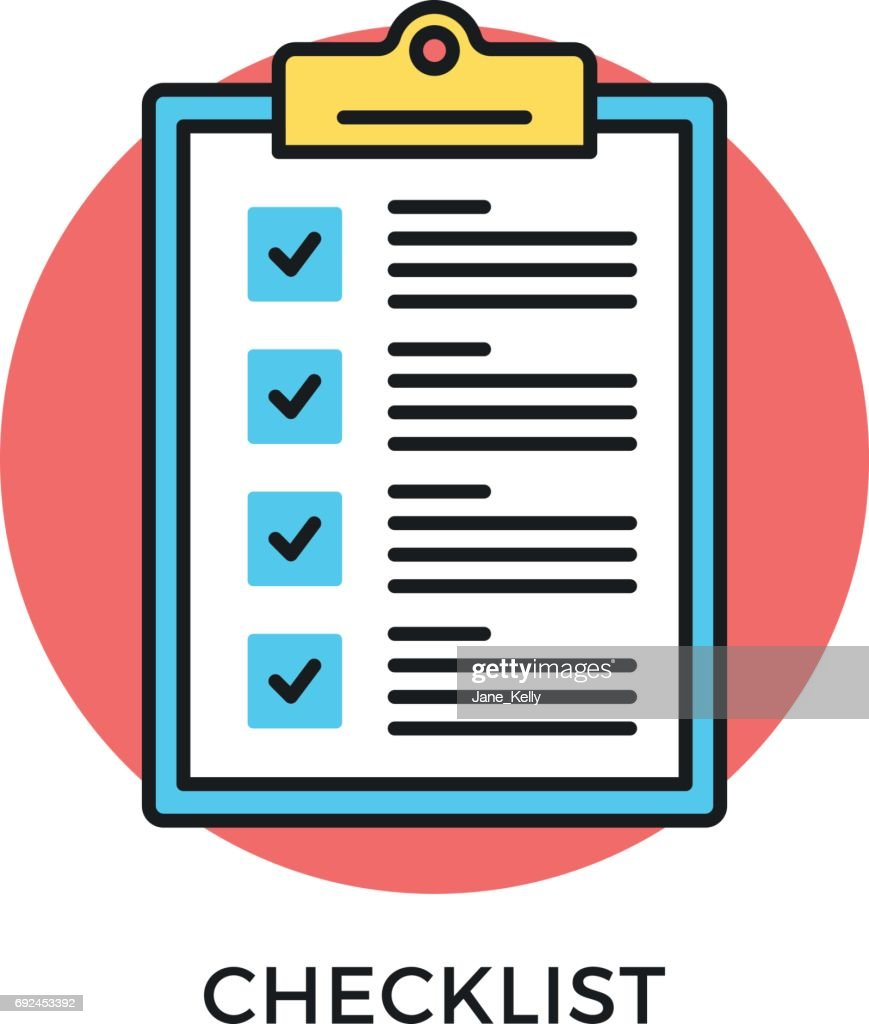 Checklist icon. Check list, clipboard with checkboxes and checkmarks. Survey, test, feedback, to-do list concepts. Modern flat design thin line concept. Vector icon