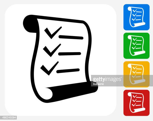 checklist icon flat graphic design - paper scroll stock illustrations, clip art, cartoons, & icons