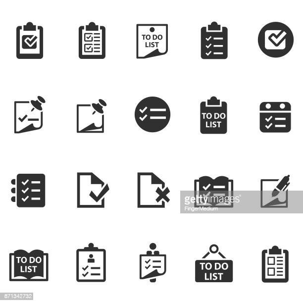 checklist icon set - to do list stock illustrations