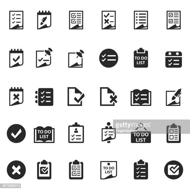 checklist icon set - list stock illustrations, clip art, cartoons, & icons