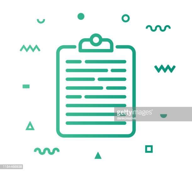 ilustraciones, imágenes clip art, dibujos animados e iconos de stock de lista de verificación estilo de línea icono diseño - archivo