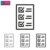 Checklist line vector icon. Editable stroke.