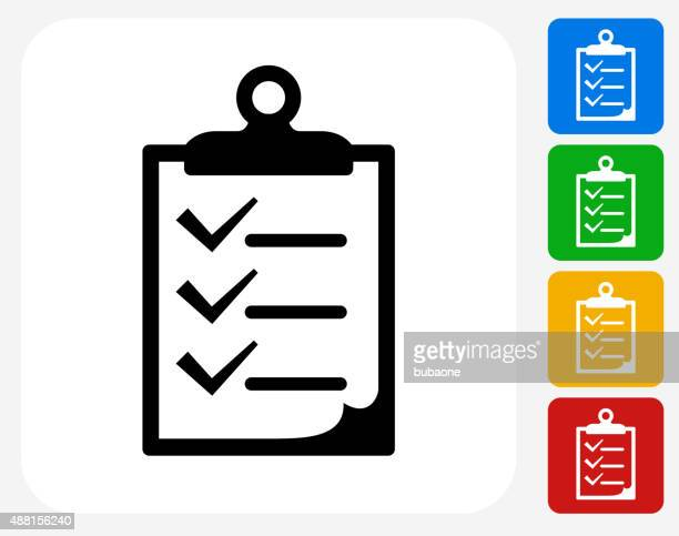 checklist on clip board icon flat graphic design - to do list stock illustrations, clip art, cartoons, & icons