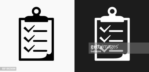 Checklist on Clip Board Icon on Black and White Vector Backgrounds