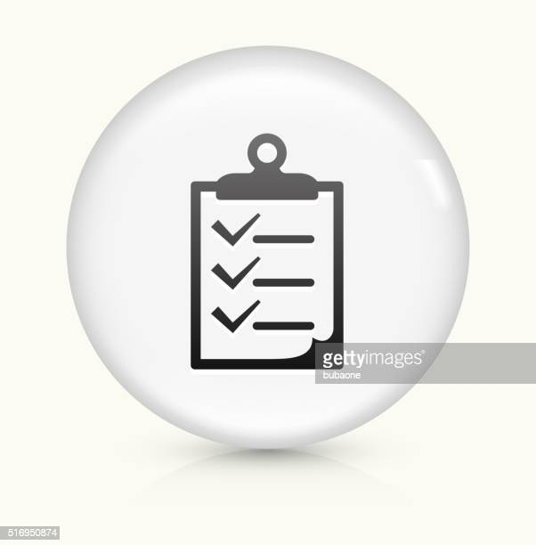 checklist on clip board icon on white round vector button - to do list stock illustrations, clip art, cartoons, & icons