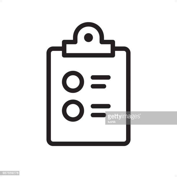 checklist on clipboard - outline icon - pixel perfect - list stock illustrations, clip art, cartoons, & icons