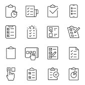 Checklist, testing and polling icons set. Line with editable stroke