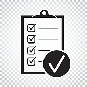 Checklist vector icon. Survey vector illustration in flat design on isolated background. Simple business concept pictogram.