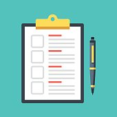 Checklist with checkboxes and pen. Clipboard with document and check boxes. Top view. Modern flat design graphic elements. Vector illustration
