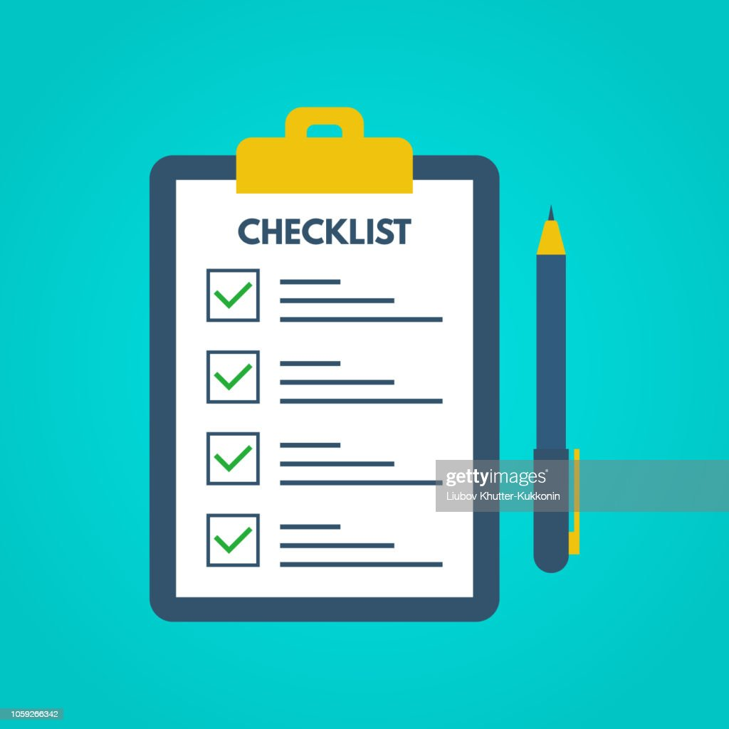 Checklist with tick marks in a flat style. Questionnaire on a clipboard paper. Successful completion of business tasks. Checklist, tasks, to-do list, survey, exam concepts. Vector illustration