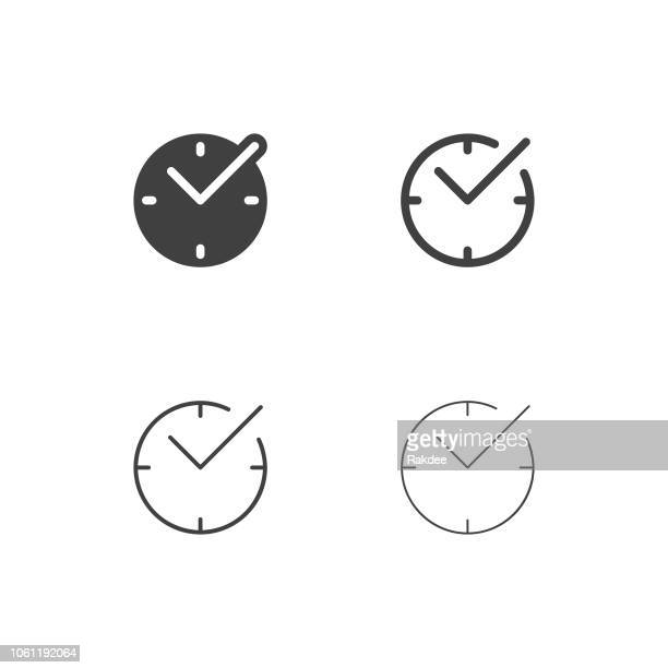 stockillustraties, clipart, cartoons en iconen met checkmark tijd icons - multi-serie - klok