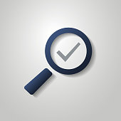 Checkmark with Magnifying Glass - Flat Style Design