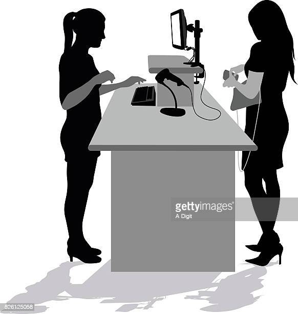 checkout computer silhouette - checkout stock illustrations, clip art, cartoons, & icons