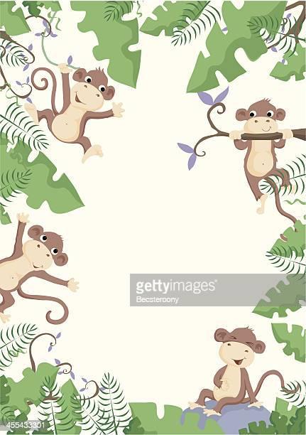ilustraciones, imágenes clip art, dibujos animados e iconos de stock de frontera cheeky mono - inocentada