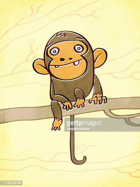 cheeky monkey - chimpanzee stock illustrations, clip art, cartoons, & icons