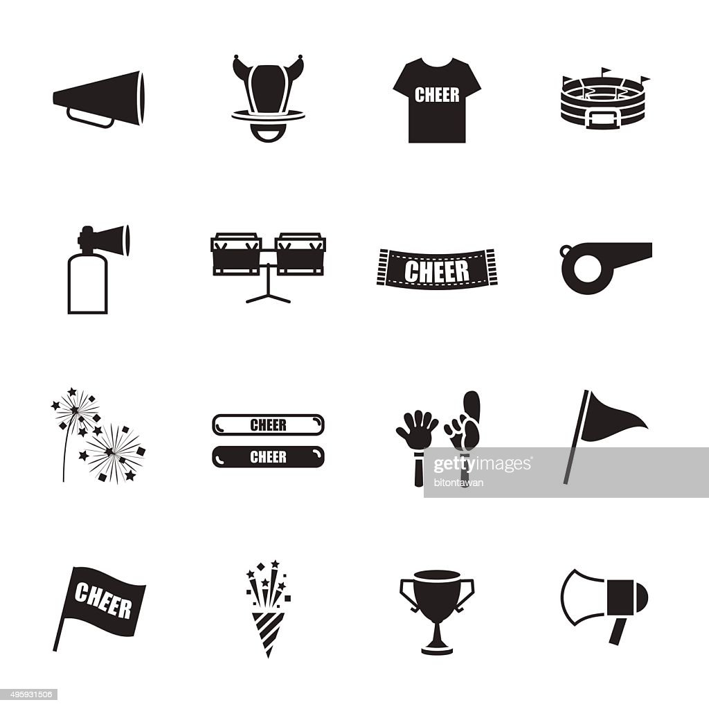 cheer equipment Sports icons set