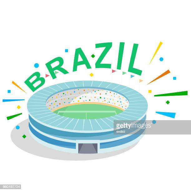 ilustrações, clipart, desenhos animados e ícones de torcida para o brasil - estádio
