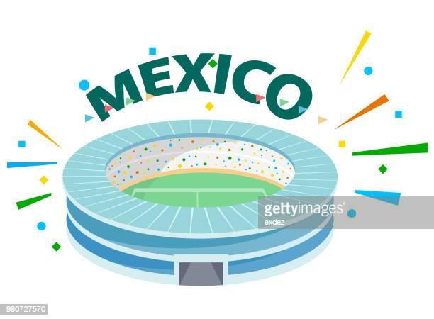 cheer for mexico - stadium stock illustrations