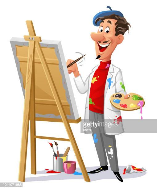 cheerful artist painting a picture - easel stock illustrations