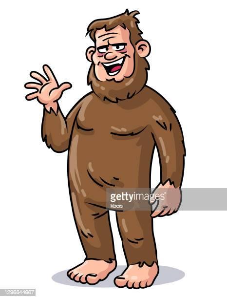 cheerful bigfoot - bigfoot stock illustrations