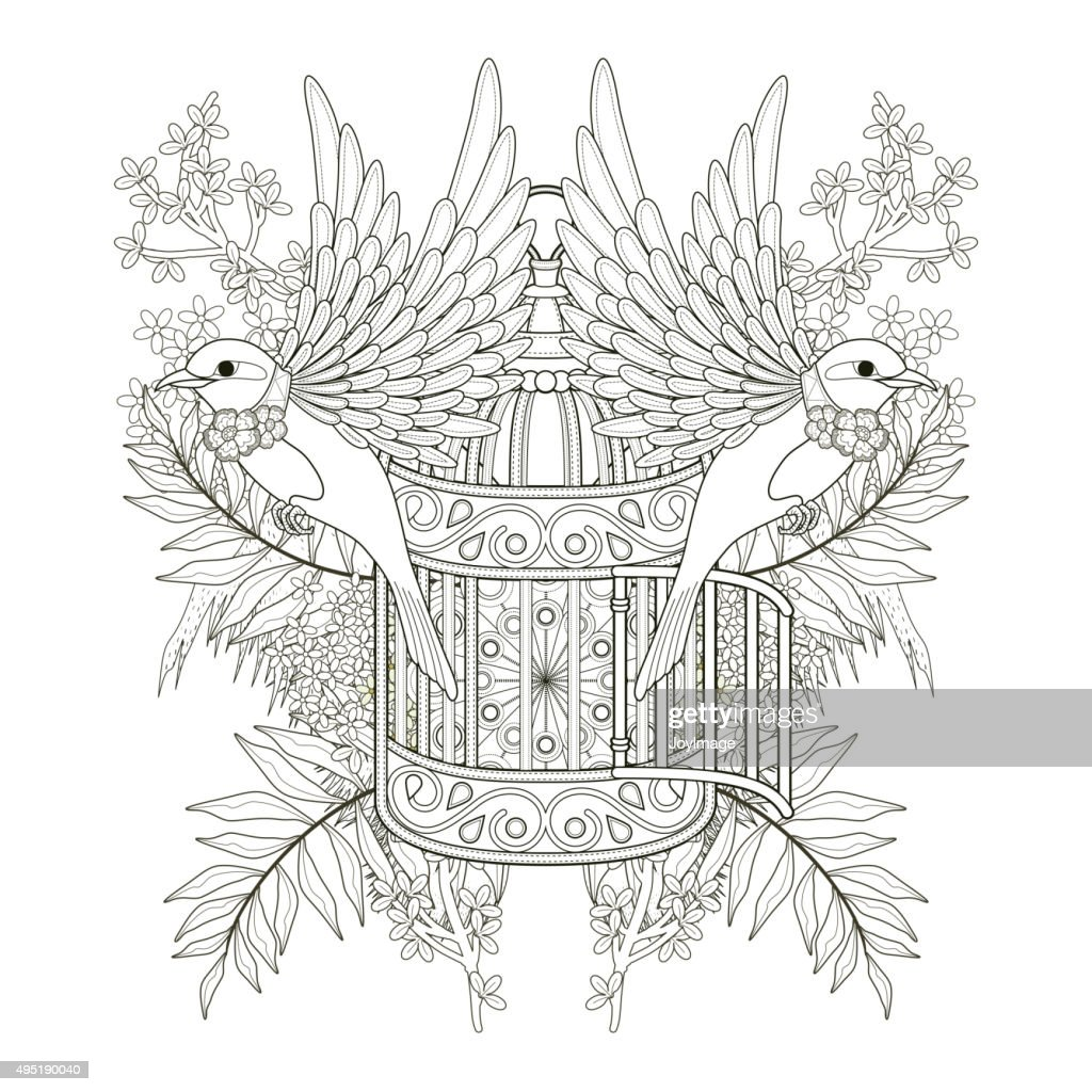 cheerful bird coloring page