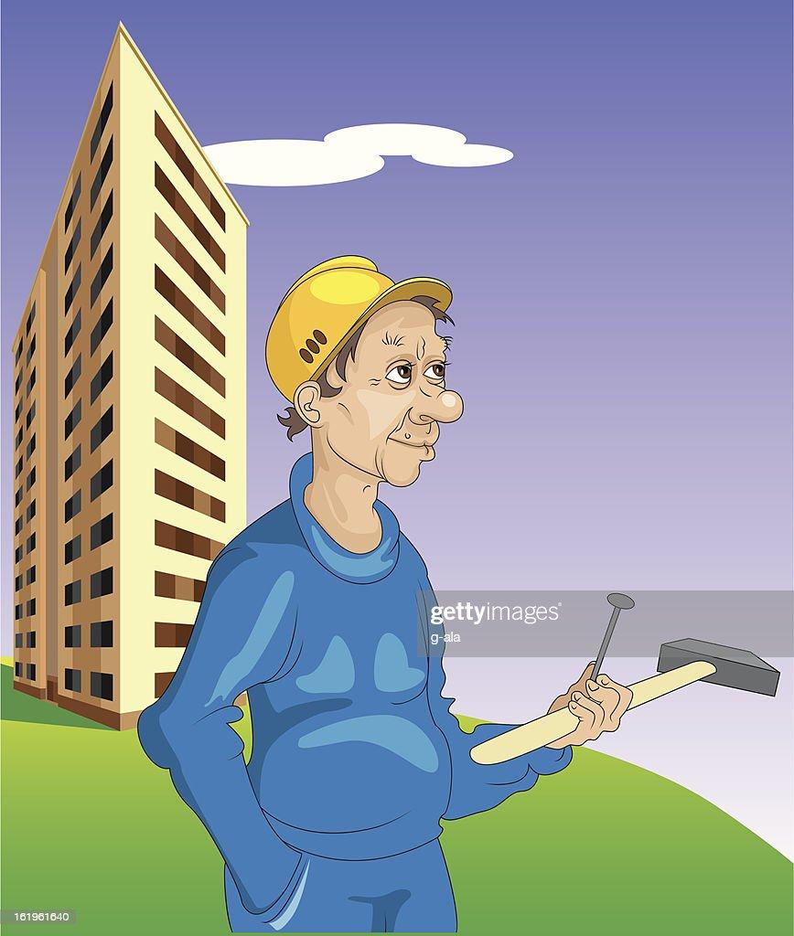 cheerful builder