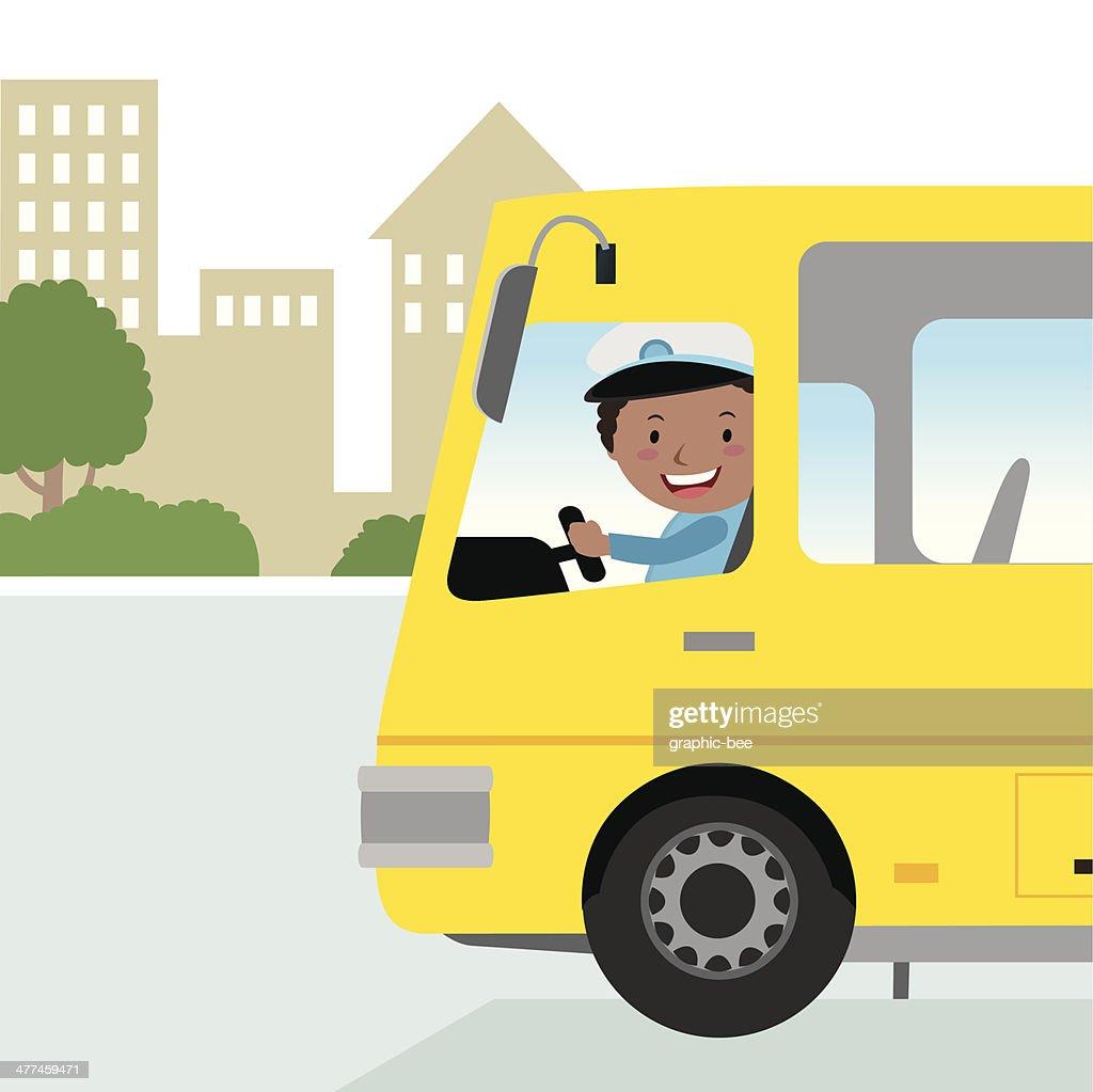 Cheerful bus driver