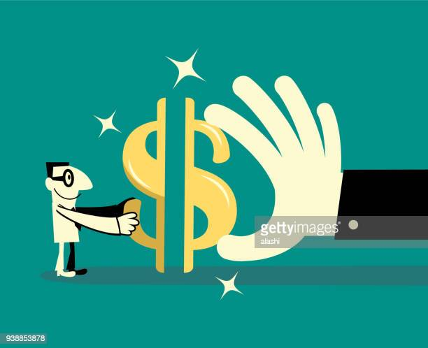 Cheerful Businessman cooperates with a big hand to complete a dollar currency sign jigsaw puzzle