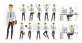 Cheerful businessman - vector cartoon people character set