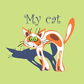 Cheerful cat with red spots on the fur. Cartoonish. My cat. Inscription.Green background. Vector.