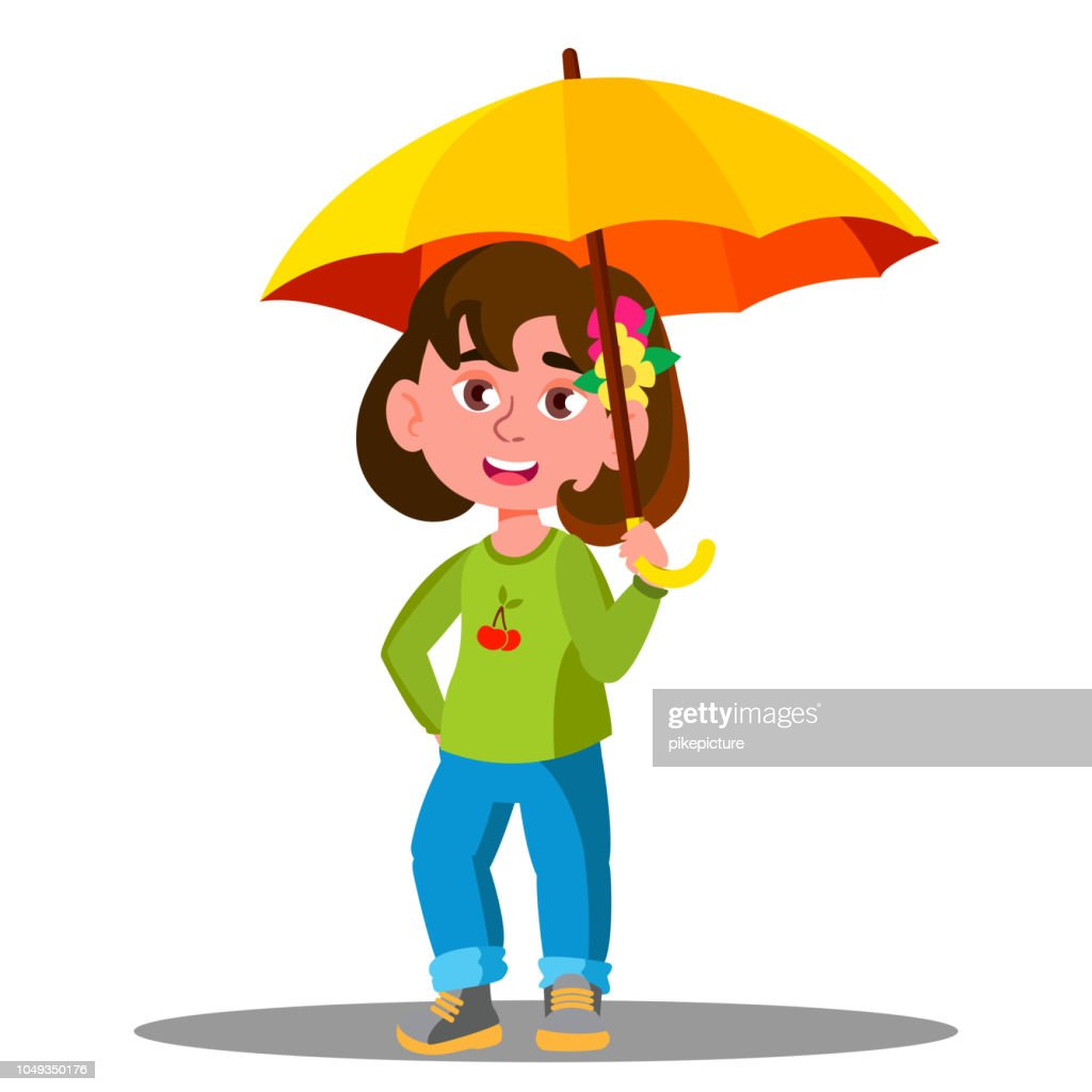 Cheerful Child With Yellow Umbrella In The Rain Vector. Isolated Illustration