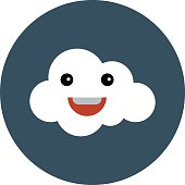 Cheerful Cloud Colored Vector Illustration