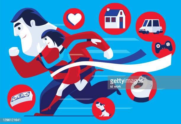 cheerful couple crossing finish line - glühend stock illustrations