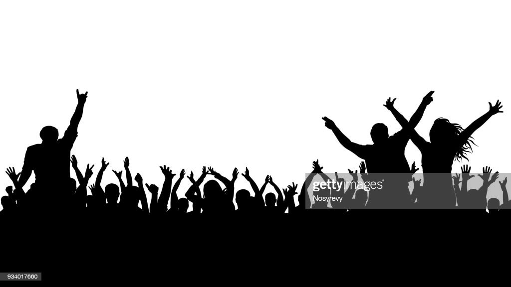 Cheerful crowd silhouette. Party people, applaud. Fans dance concert, disco.