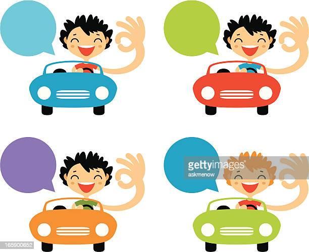 illustrations, cliparts, dessins animés et icônes de enthousiaste les conducteurs - permis de conduire