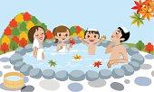 Cheerful family Enjoying Japanese Hot Spring in Autumn