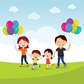 Cheerful family running with balloons