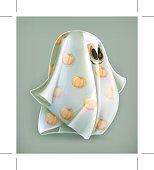 Cheerful ghost, Halloween icon, vector illustration