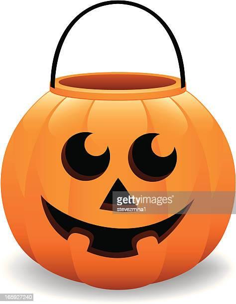 cheerful halloween pumpkin bucket jack o' lantern vector illustration - bucket stock illustrations, clip art, cartoons, & icons