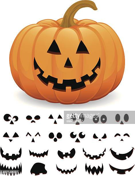 cheerful halloween pumpkin jack  o' lantern vector illustration - anthropomorphic stock illustrations