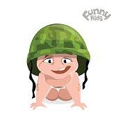 cheerful kid in military helmet crawling on knees. Flat illustration.