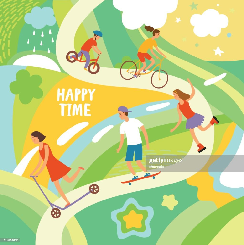 Cheerful kids riding and playing outdoor