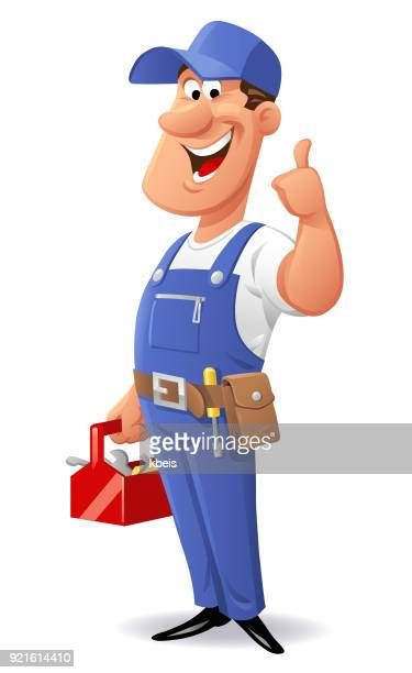 cheerful mechanic - carpenter stock illustrations