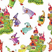 cheerful pattern of the fabulous houses and magic little gnomes
