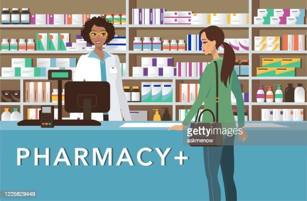 illustrazioni stock, clip art, cartoni animati e icone di tendenza di farmacista allegro in farmacia - farmacia