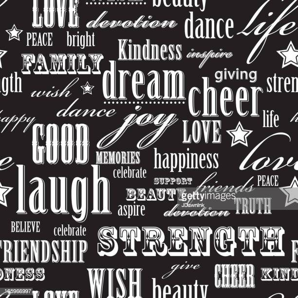 Cheerful positive words seamless pattern background