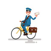 Cheerful postman riding a bicycle. Vector illustration