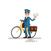 Cheerful postman with the bike and the letter in his