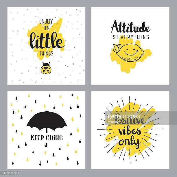 illustrazioni stock, clip art, cartoni animati e icone di tendenza di cheerful quotes - testo