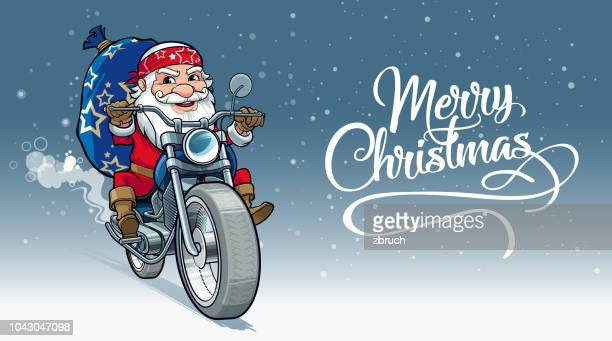cheerful santa - motorcycle rider stock illustrations, clip art, cartoons, & icons